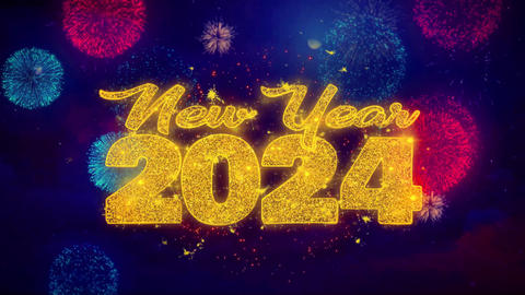 New Year 2024 wish Text on Colorful Ftirework Explosion Particles Footage