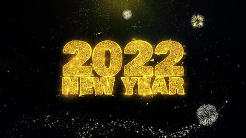 2022 New Year Text Wish on Gold Particles Fireworks Display Footage