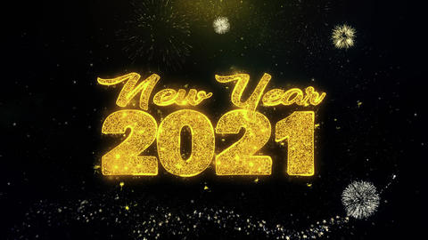 New Year 2021 Text Wish on Gold Particles Fireworks Display Footage