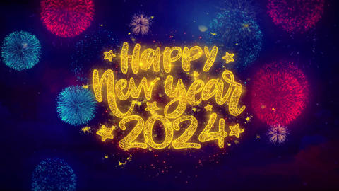 Happy New Year 2024 wish Text on Colorful Ftirework Explosion Particles Live Action