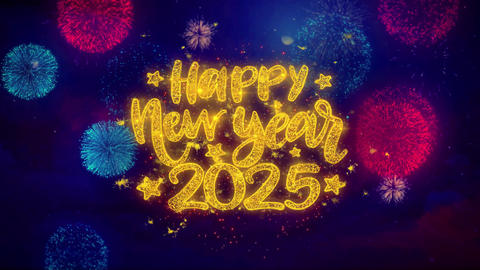 Happy New Year 2025 wish Text on Colorful Ftirework Explosion Particles Footage