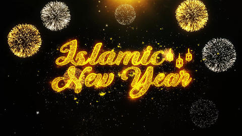 Islamic New Year Text wish on Firework Display Explosion Particles Live Action