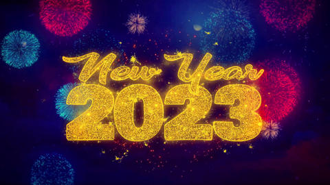 New Year 2023 wish Text on Colorful Ftirework Explosion Particles Footage