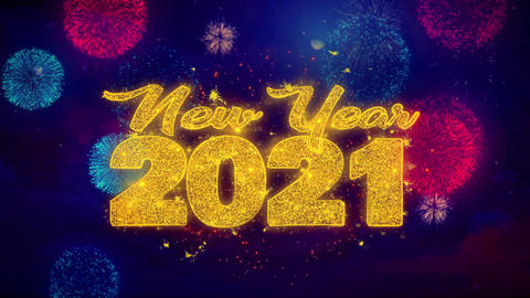 New Year 2021 wish Text on Colorful Ftirework Explosion Particles Footage