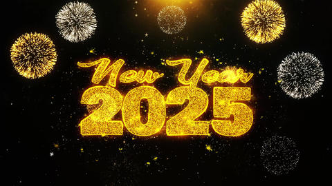 New Year 2025 Text wish on Firework Display Explosion Particles Footage