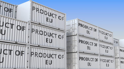 Containers with PRODUCT OF EU text in a container terminal, loopable 3D Live Action