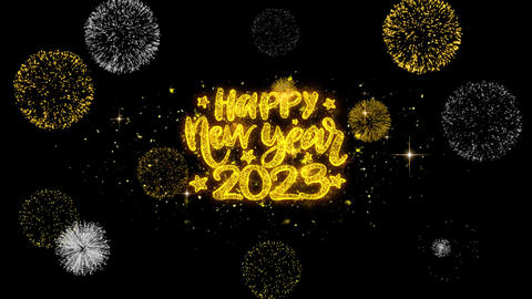 Happy New Year 2023 Text Wish Reveal on Glitter Golden Particles Firework Footage