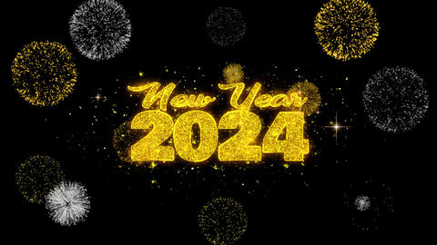 New Year 2024 Text Wish Reveal on Glitter Golden Particles Firework Live Action