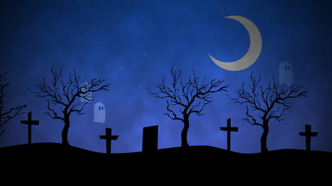 Halloween background animation with the ghosts in cemetery Animation