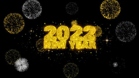 2022 New Year Text Wish Reveal on Glitter Golden Particles Firework Footage