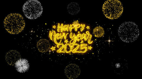 Happy New Year 2025 Text Wish Reveal on Glitter Golden Particles Firework Footage