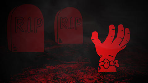 Halloween background animation with the hand in cemetery Videos animados