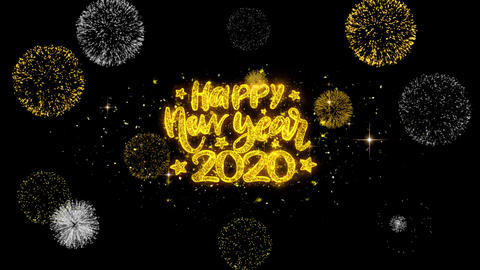 Happy New Year 2020 Text Wish Reveal on Glitter Golden Particles Firework Footage