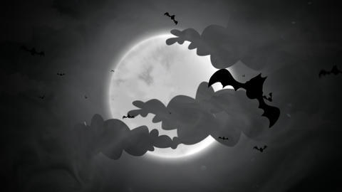Halloween background animation with the bats and moon Videos animados