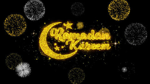 Ramadan Kareem Text Wish Reveal on Glitter Golden Particles Firework Live Action