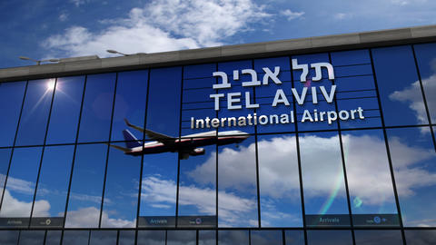 Airplane landing at Tel Aviv mirrored in terminal Live Action