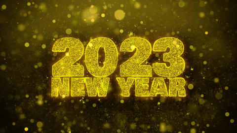 2023 New Year Sky Wish Text on Golden Glitter Shine Particles Animation Footage