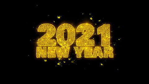 2021 New Year wish Text Sparks Particles on Black Background Footage