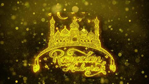 Ramadan Mubarak Wish Text on Golden Glitter Shine Particles Animation Footage