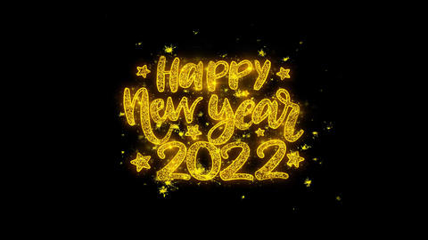 Happy New Year 2022 wish Text Sparks Particles on Black Background Footage