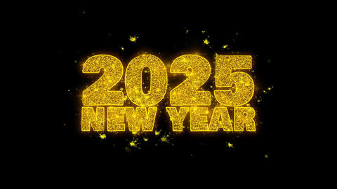 2025 New Year wish Text Sparks Particles on Black Background Footage