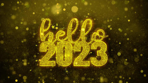 Hello 2023 Wish Text on Golden Glitter Shine Particles Animation Footage