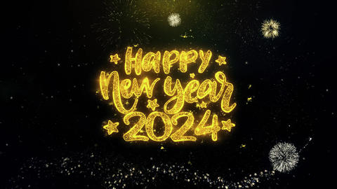 Happy New Year 2024 Text Wish on Gold Particles Fireworks Display Footage
