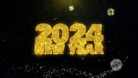 2024 New Year Text Wish on Gold Particles Fireworks Display Live Action