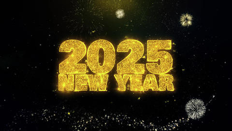 2025 New Year Text Wish on Gold Particles Fireworks Display Footage