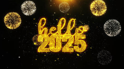 Hello 2025 New Year Text wish on Firework Display Explosion Particles Footage