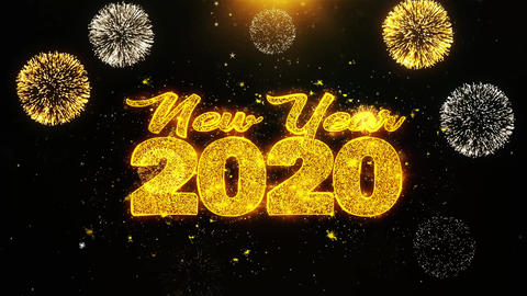 New Year 2020 Text wish on Firework Display Explosion Particles Live Action