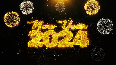 New Year 2024 Text wish on Firework Display Explosion Particles Live Action