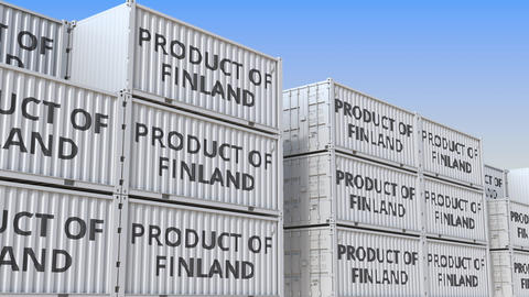 Containers with PRODUCT OF FINLAND text in a container terminal, loopable 3D Live Action