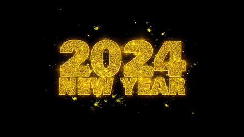 2024 New Year wish Text Sparks Particles on Black Background Footage