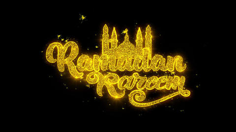 Ramadan Kareem wish Text Sparks Particles on Black Background Live Action