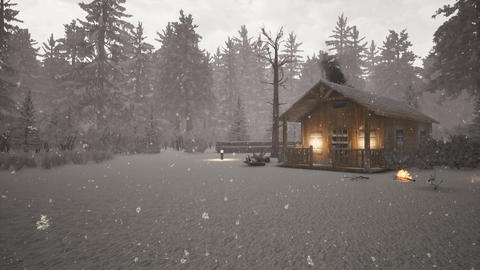 snowy christmas day and wooden house in forest Animation
