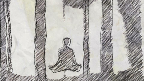 Sketch of Meditating Person in Pencil Drawing Style Footage