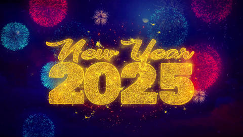 New Year 2025 wish Text on Colorful Ftirework Explosion Particles Footage