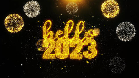 Hello 2023 New Year Text wish on Firework Display Explosion Particles Footage