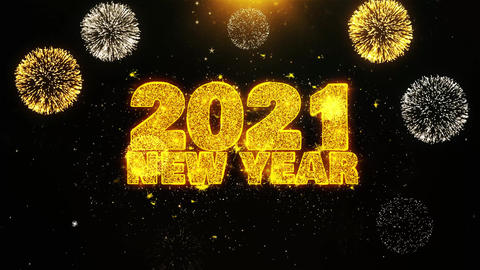 2021 New Year Text wish on Firework Display Explosion Particles Footage