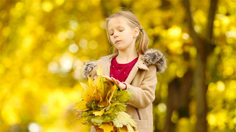 Beautiful kid with yellow and orange leaves bouquet outdoors at beautiful autumn Footage