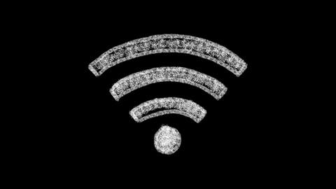 WiFi icon animation, chalk style on blackboard 4k resolution Live Action