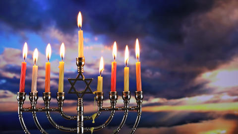 Jewish holiday Hanukkah with menorah traditional burning candles beautiful Footage