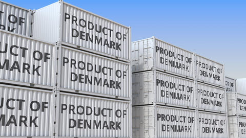 Containers with PRODUCT OF DENMARK text in a container terminal, loopable 3D Live Action