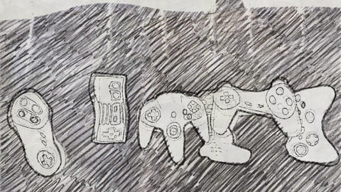 Video Console Game Controllers in Pencil Drawing Style Stock Video Footage