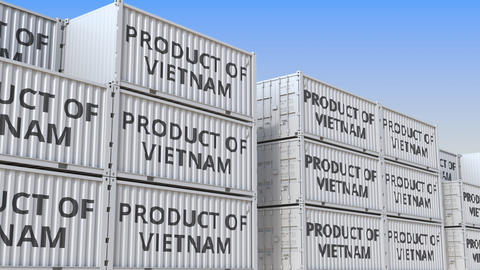Containers with PRODUCT OF VIETNAM text in a container terminal, loopable 3D Live Action