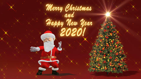 Santa Claus dancing near the Christmas tree. The concept of Christmas and New GIF