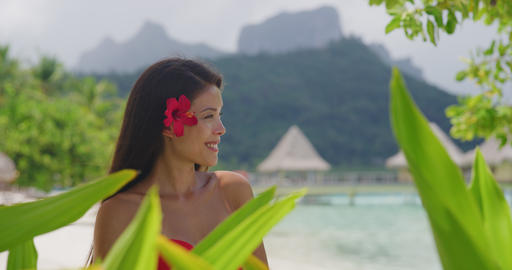 Asian natural beauty woman wellness spa skincare on tropical beach background Live Action