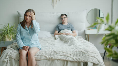 Man and woman family talking in bedroom discussing problems in relationship Live Action