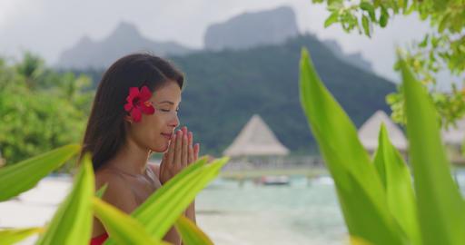 Spiritual Namaste Yoga Meditation Hand Gesture Woman On Meditating Retreat Beach Live Action